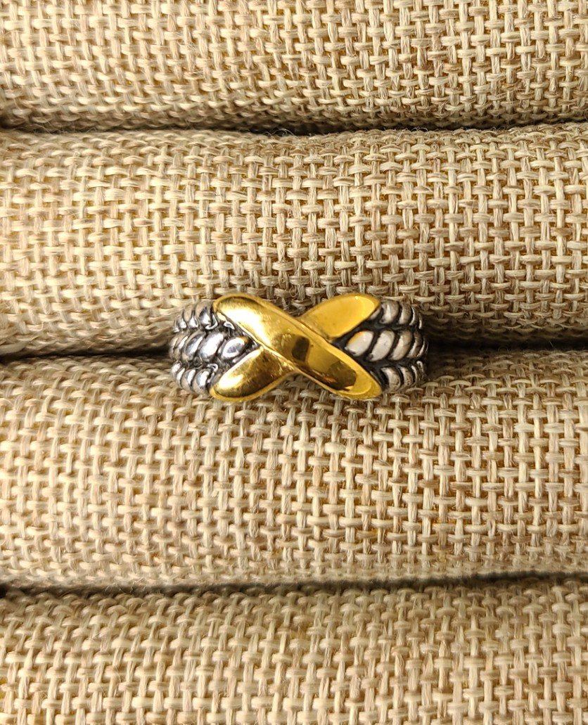 2-Tone Rope band with Gold X