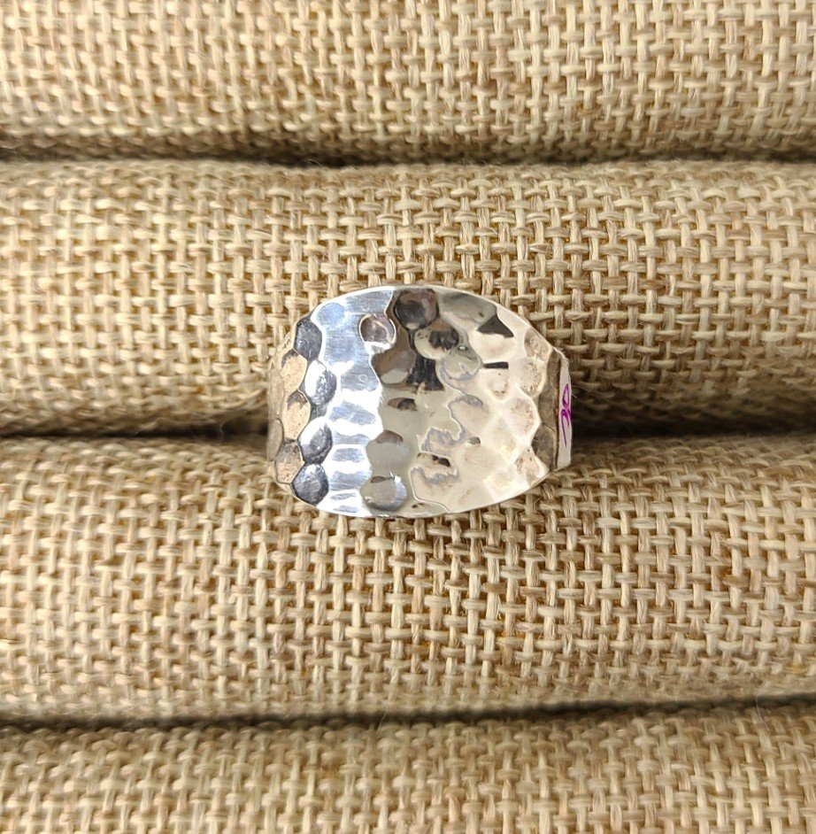 Sterling Silver Wide Hammered Thumb Ring