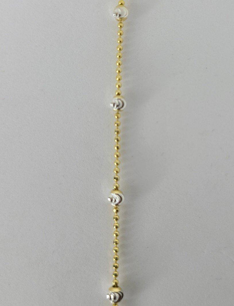Gold & Sterling Beaded Anklet