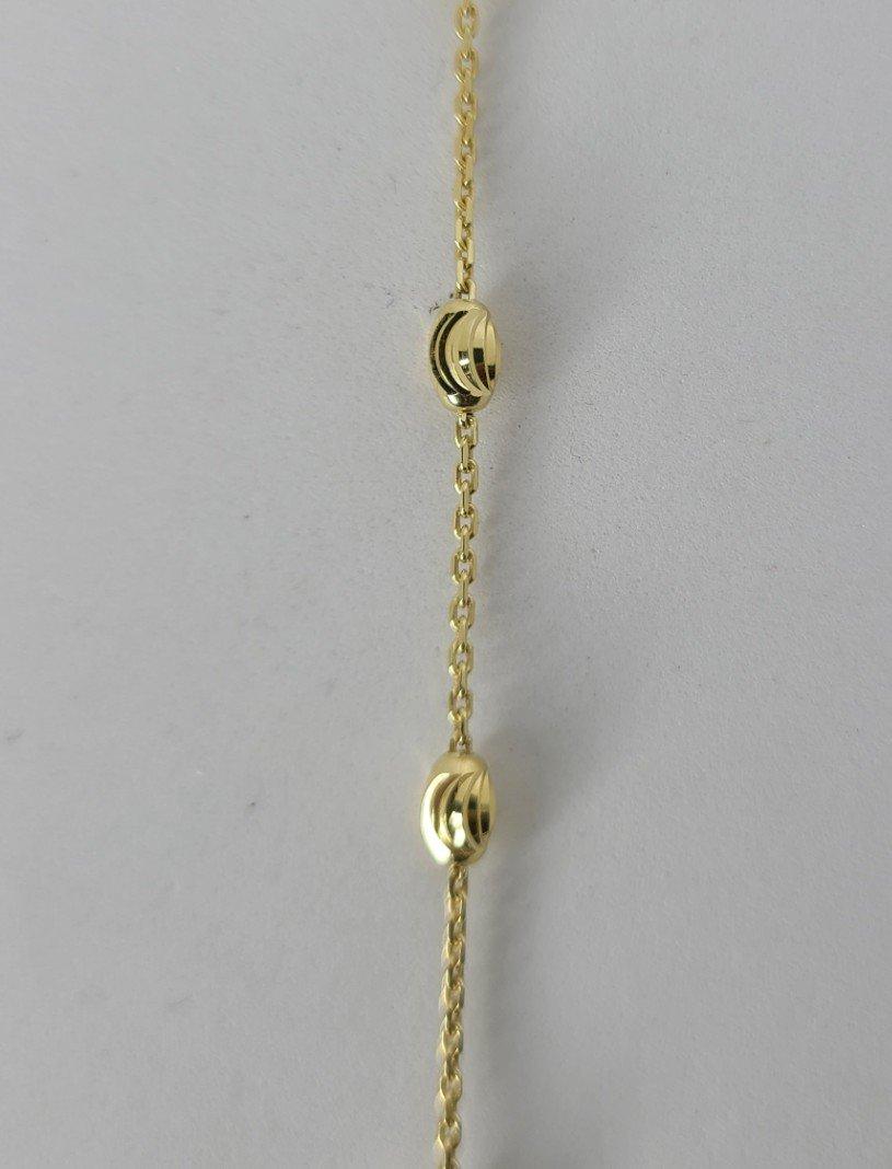 Gold Oval Diamond Cut Balls Decorative Anklet