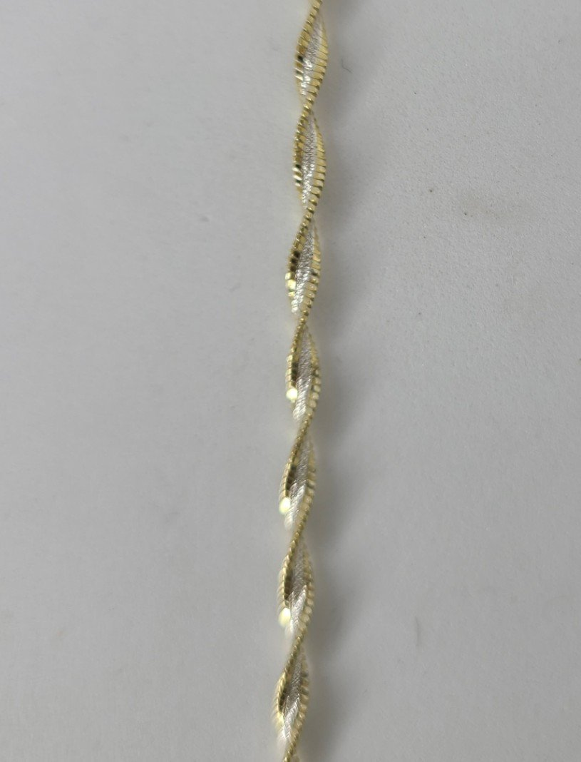 2-Tone Gold & Sterling Twisted Rope Anklet