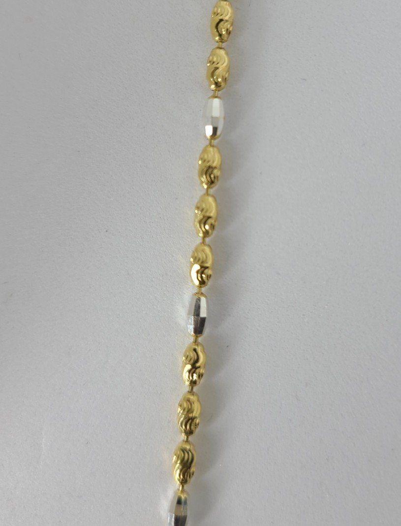 2-Tone Gold & Silver Oval Balls Decorative Anklet