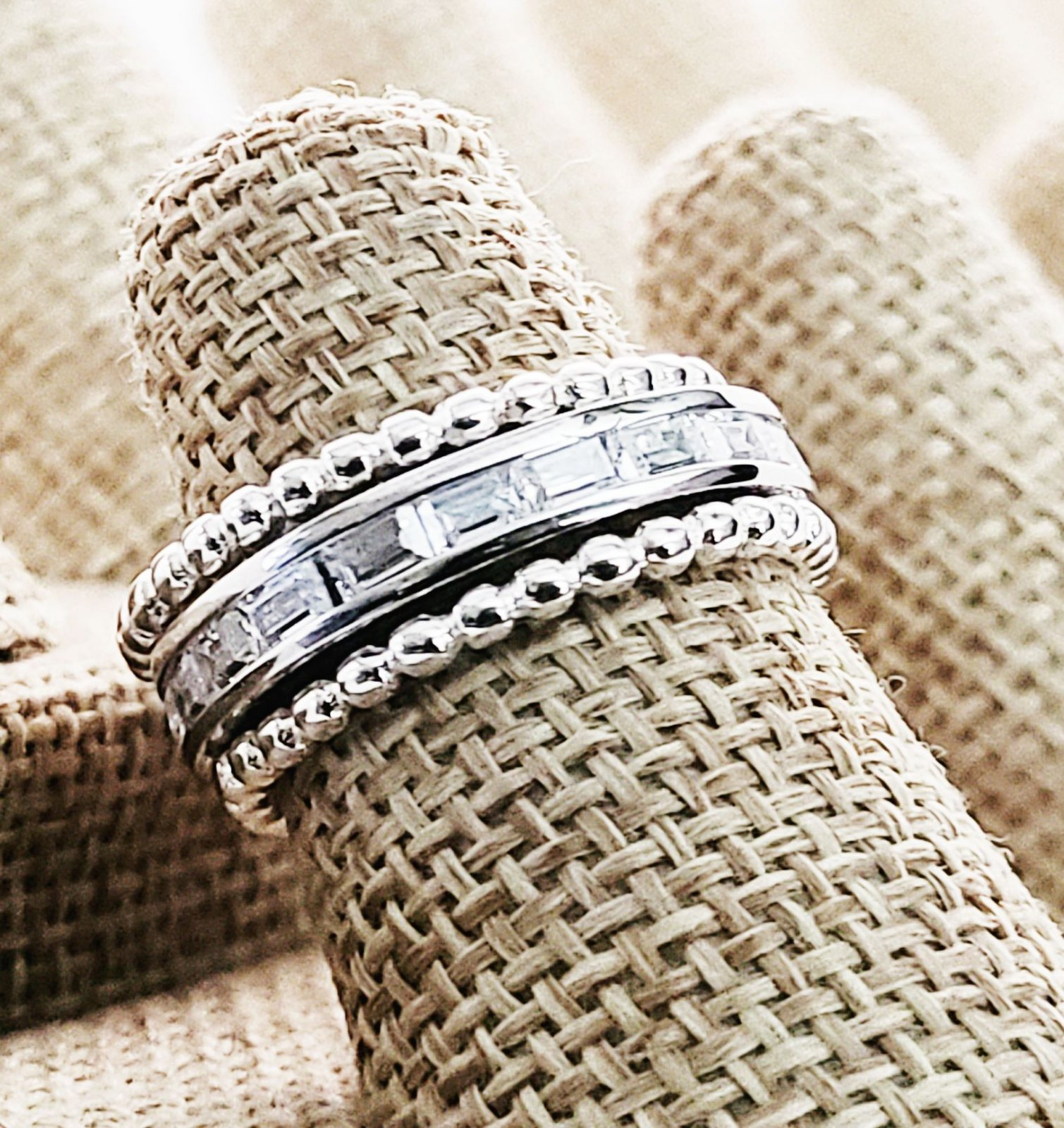 Two Beaded Bands with a CZ Baguette Center