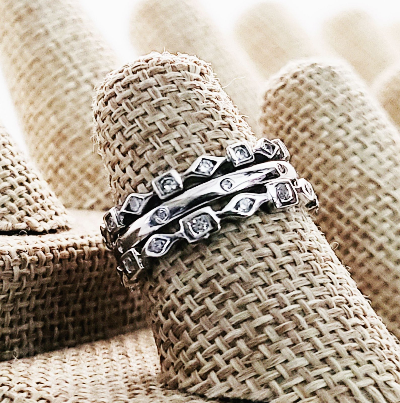 Two CZ  Shape Eternity Bands with Dot-Dot Center CZ Band
