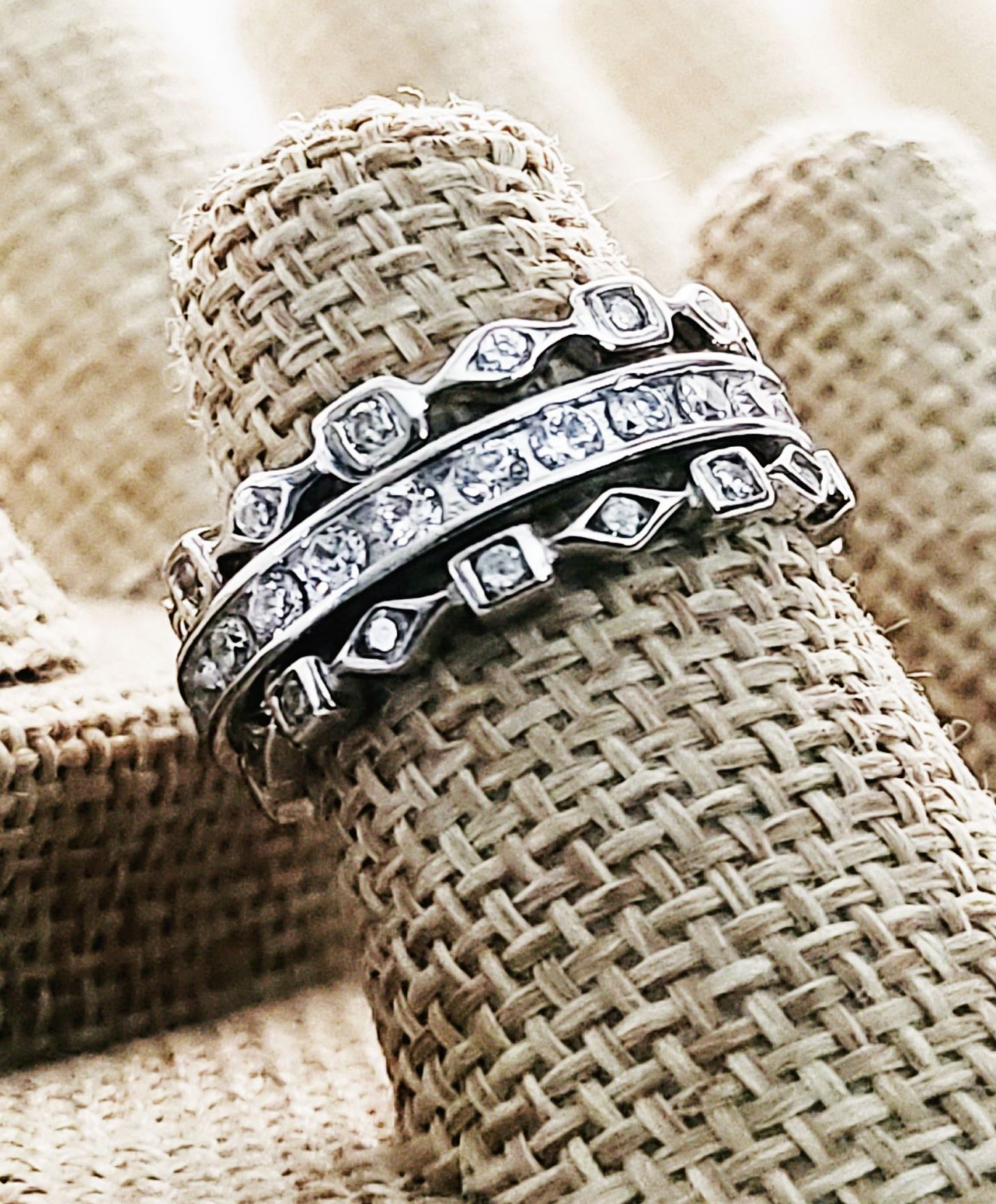 Two CZ  Shape Eternity Bands with a Channel set CZ Band