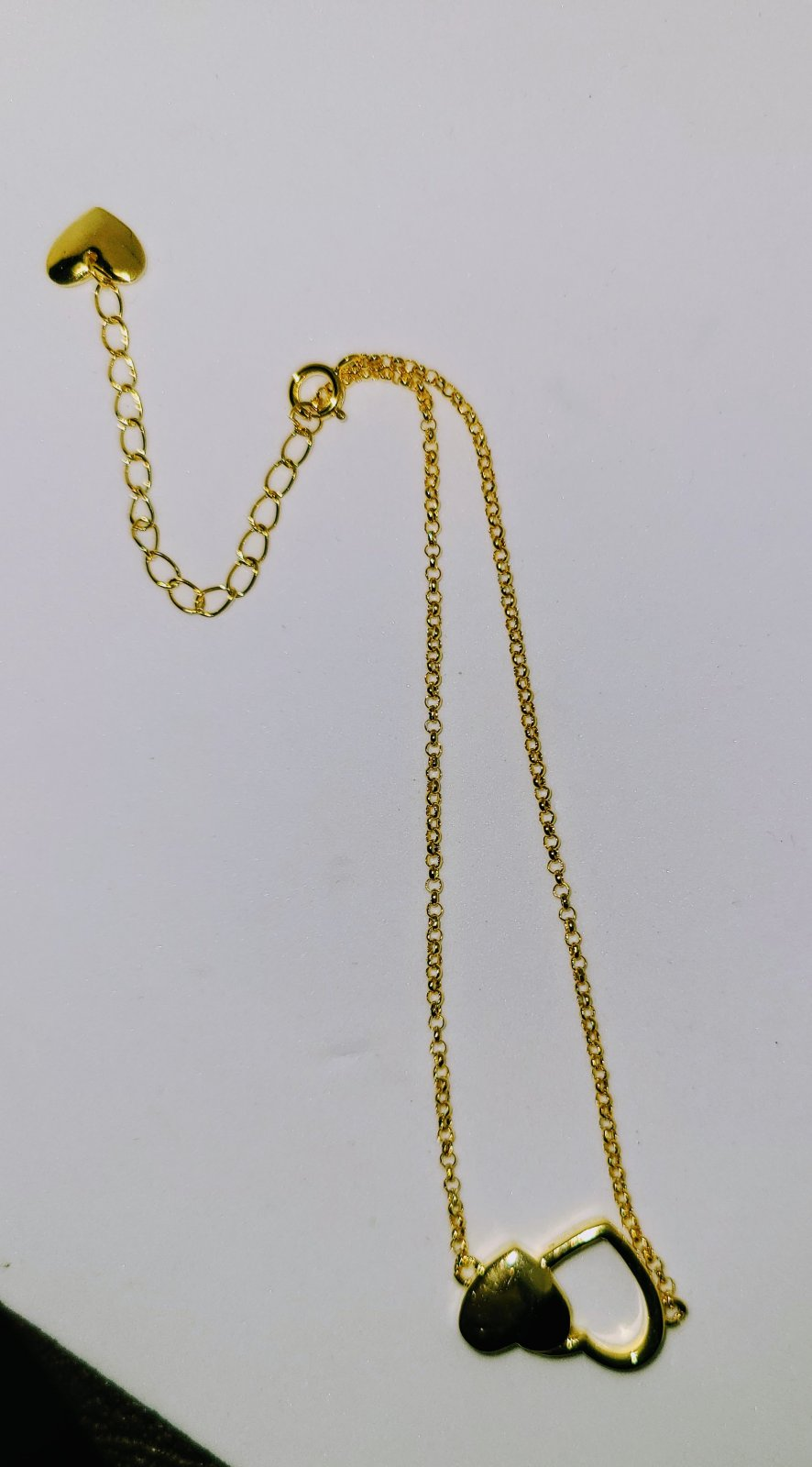 Anklet #7 - Simple Double Heart Charm