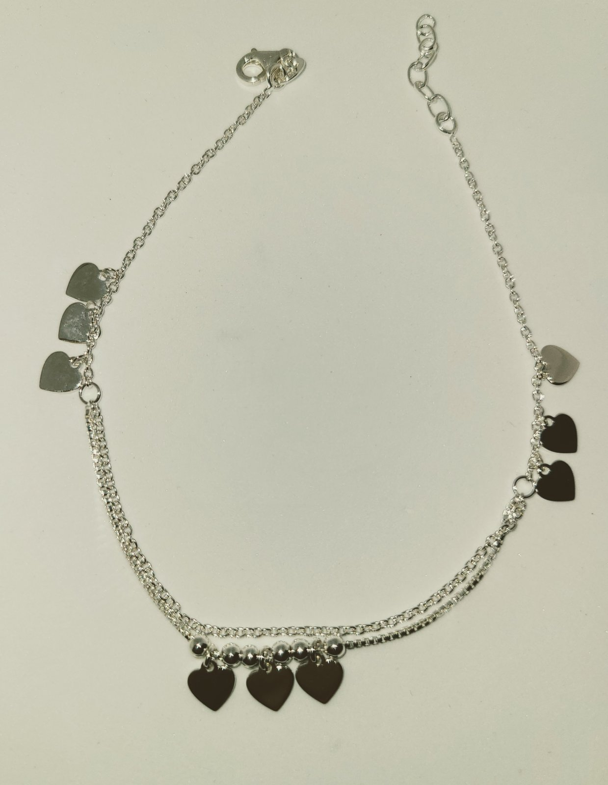 Anklet #5 - Double Heart Charm