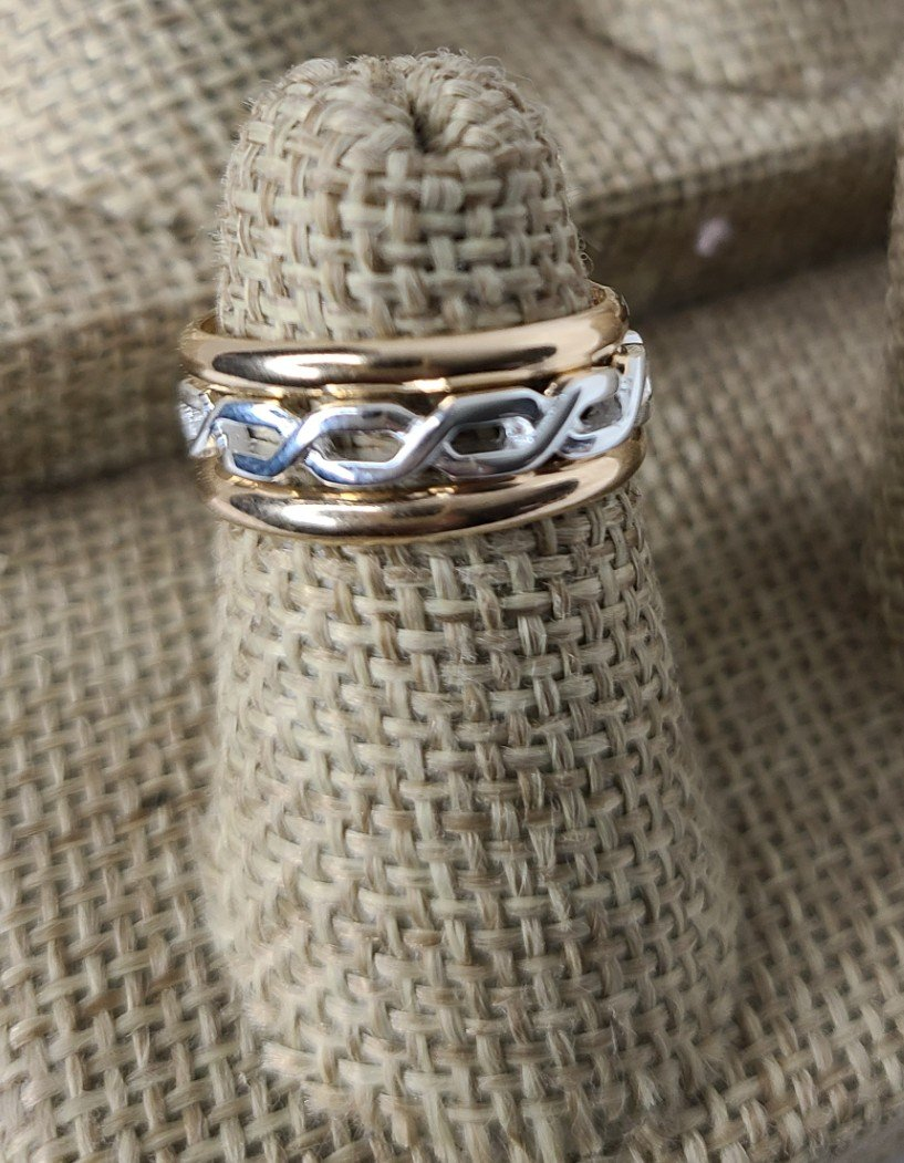 Gold Bands with Sterling Silver Braided band