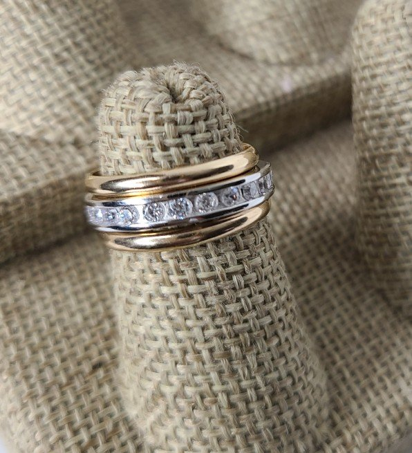 Gold Bands with Silver Channel Set