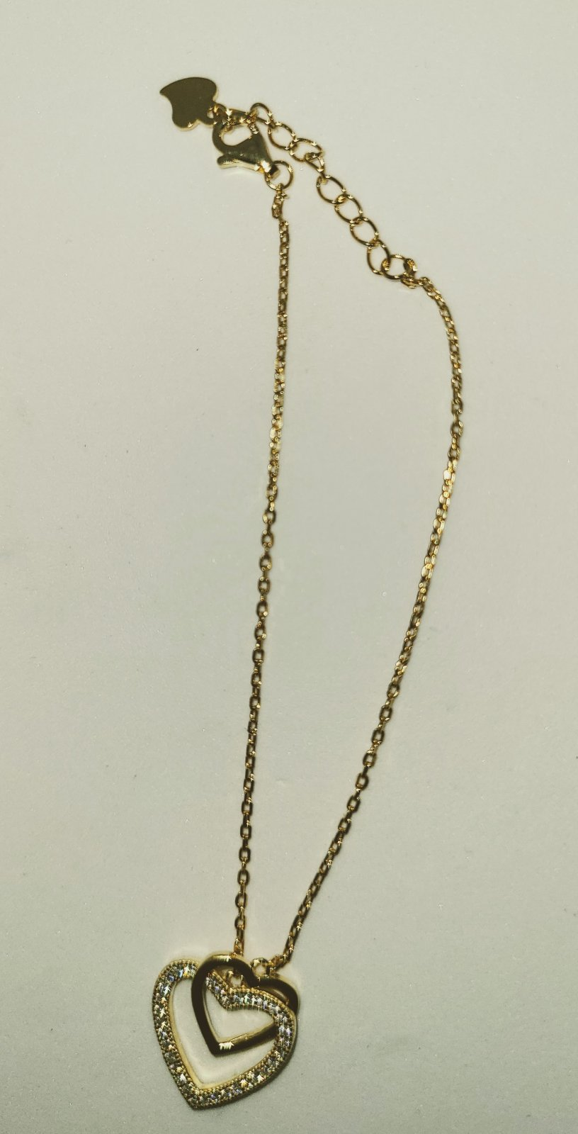 Anklet #6 -  Gold Stone Heart Charm