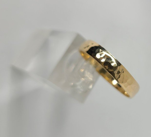 14K Gold-Fill Wide Hammered Band
