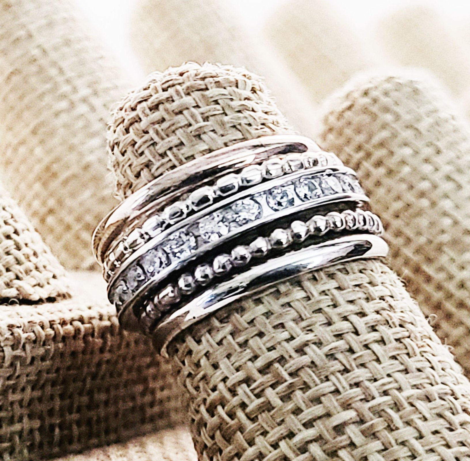 5 Stack! Two Band, Two Beads with Center Channel Set