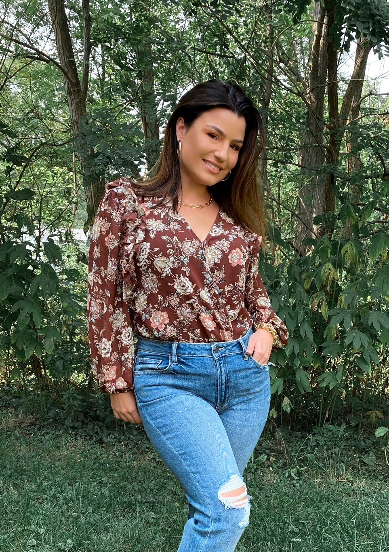 AS Cinnamon Floral Xover V Ruffle 3/4 Slv Bodysuit