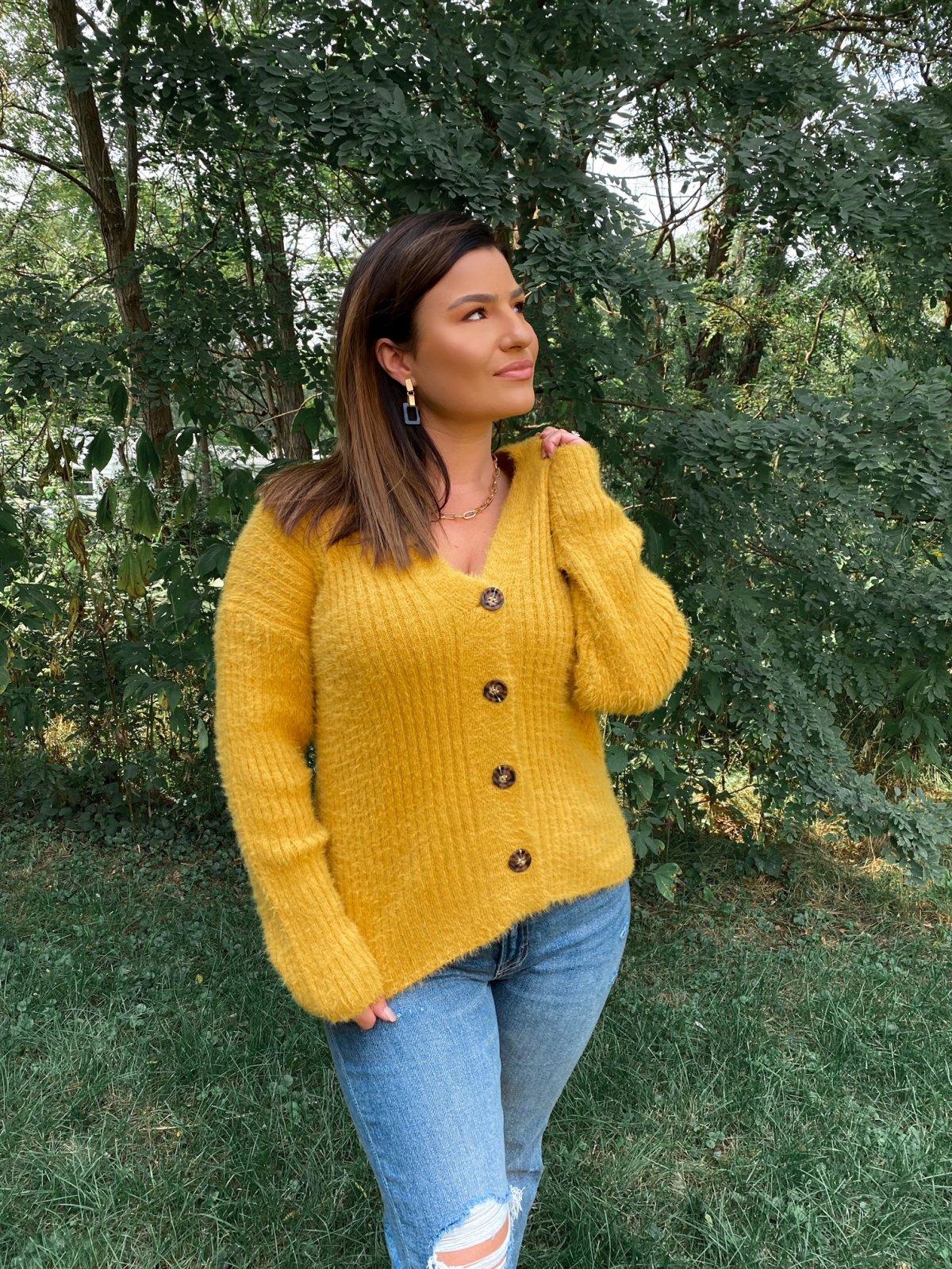 HT Mustard Fuzzy Knit Btn Up V Cardigan Sweater