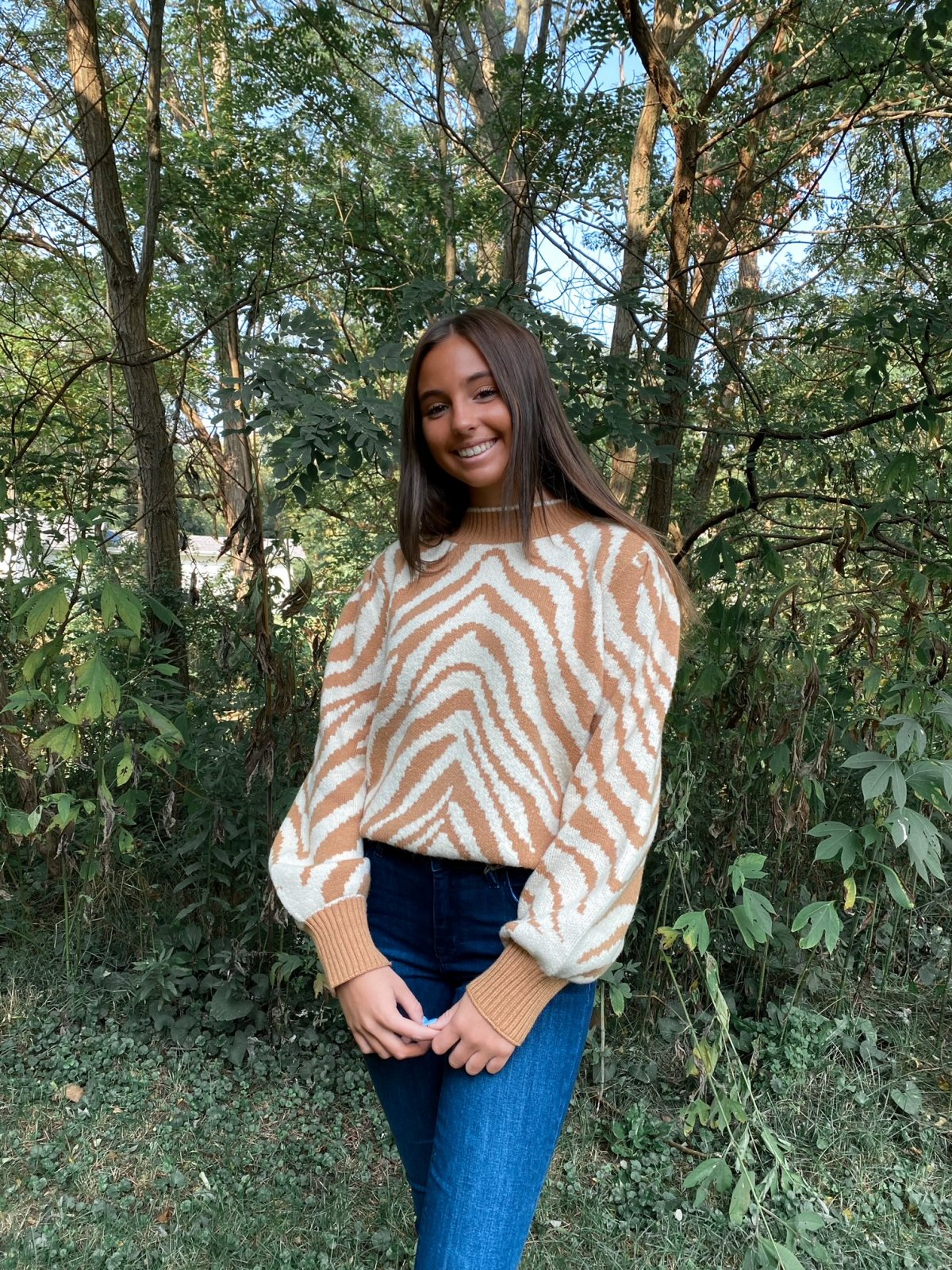 LOS Camel/Cream L/S Zebra Crew Sweater