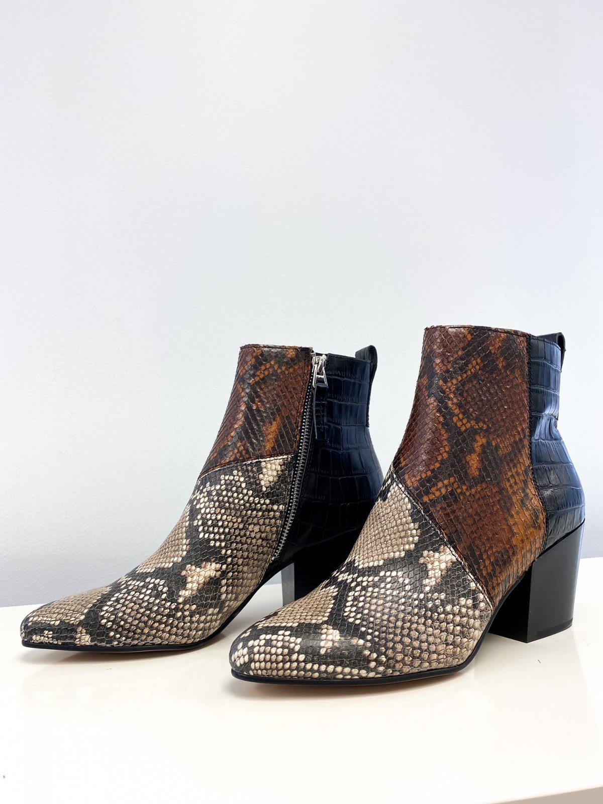 DV Black/Brown/Ivory Snake CREW Bootie Shoe