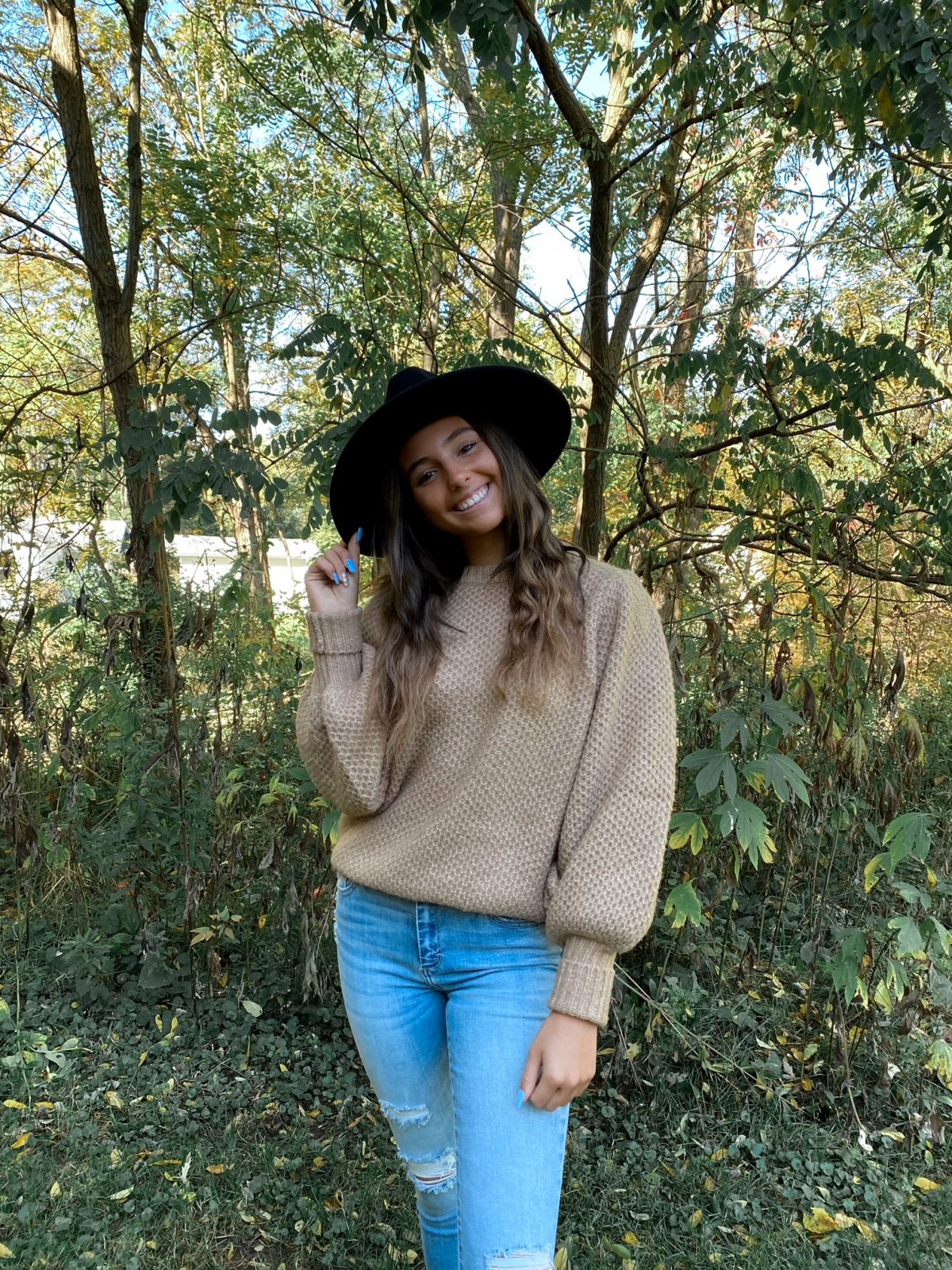 E Taupe Waffle Knit Balloon L/S Crew Sweater