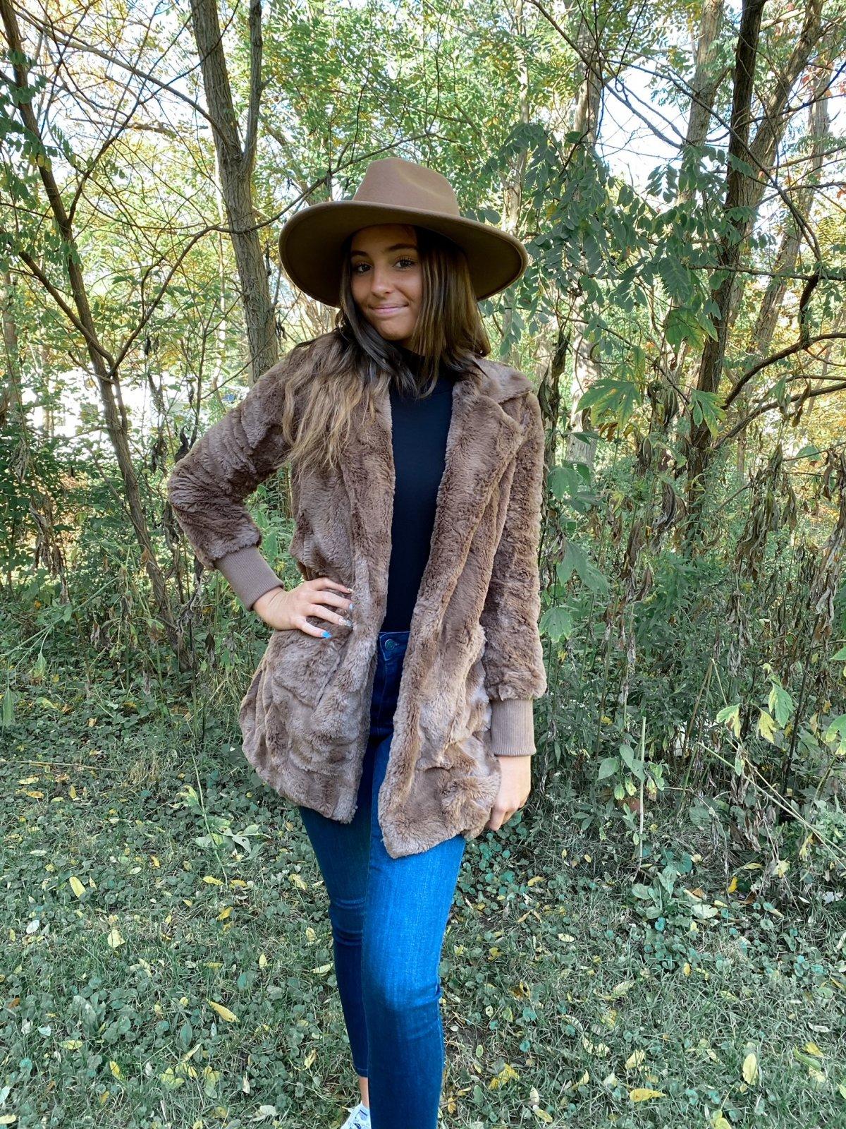 BBD Toffee Faux Swirl Fur Jacket