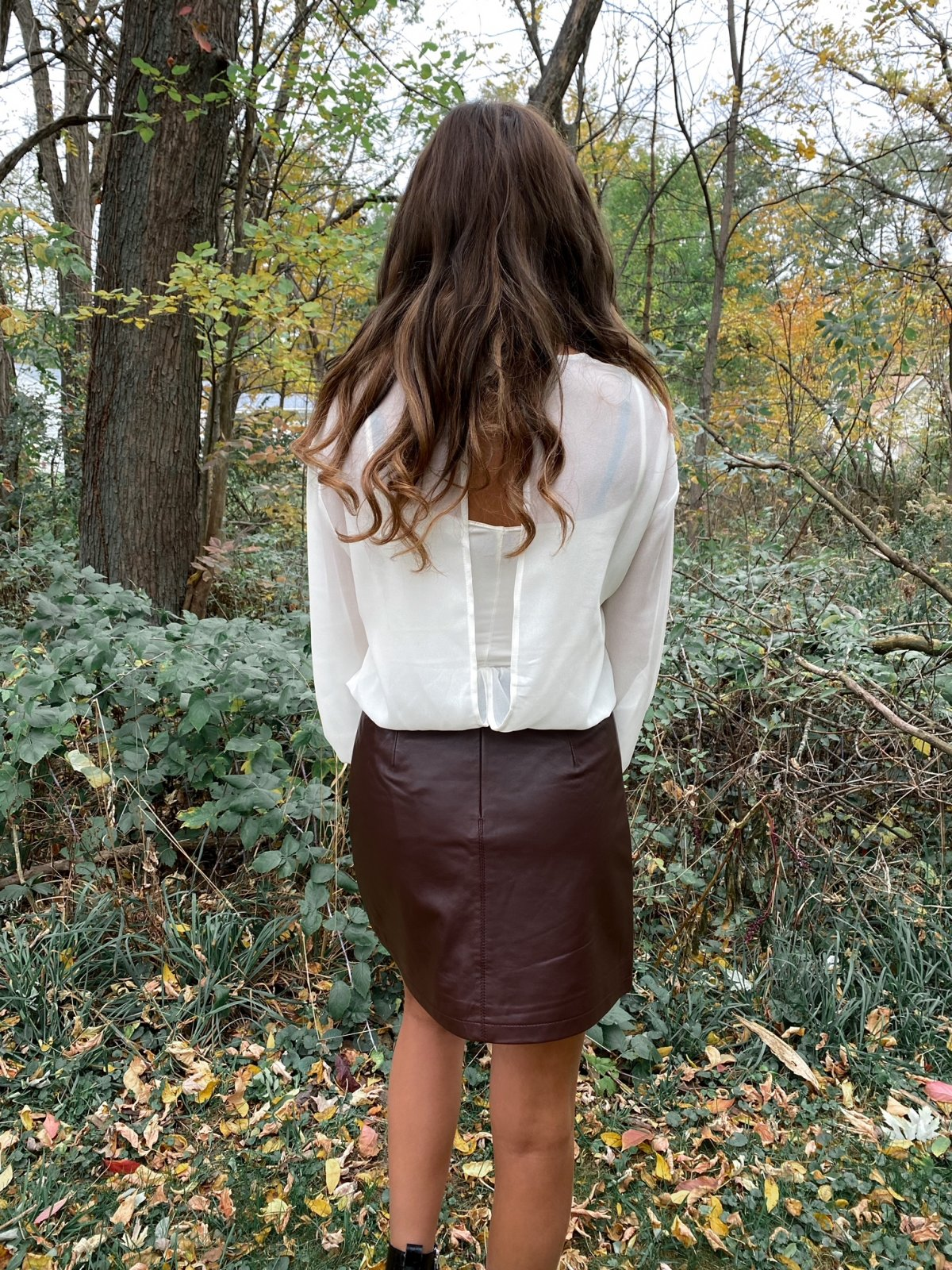 CUP Brown Leather Mini Skirt