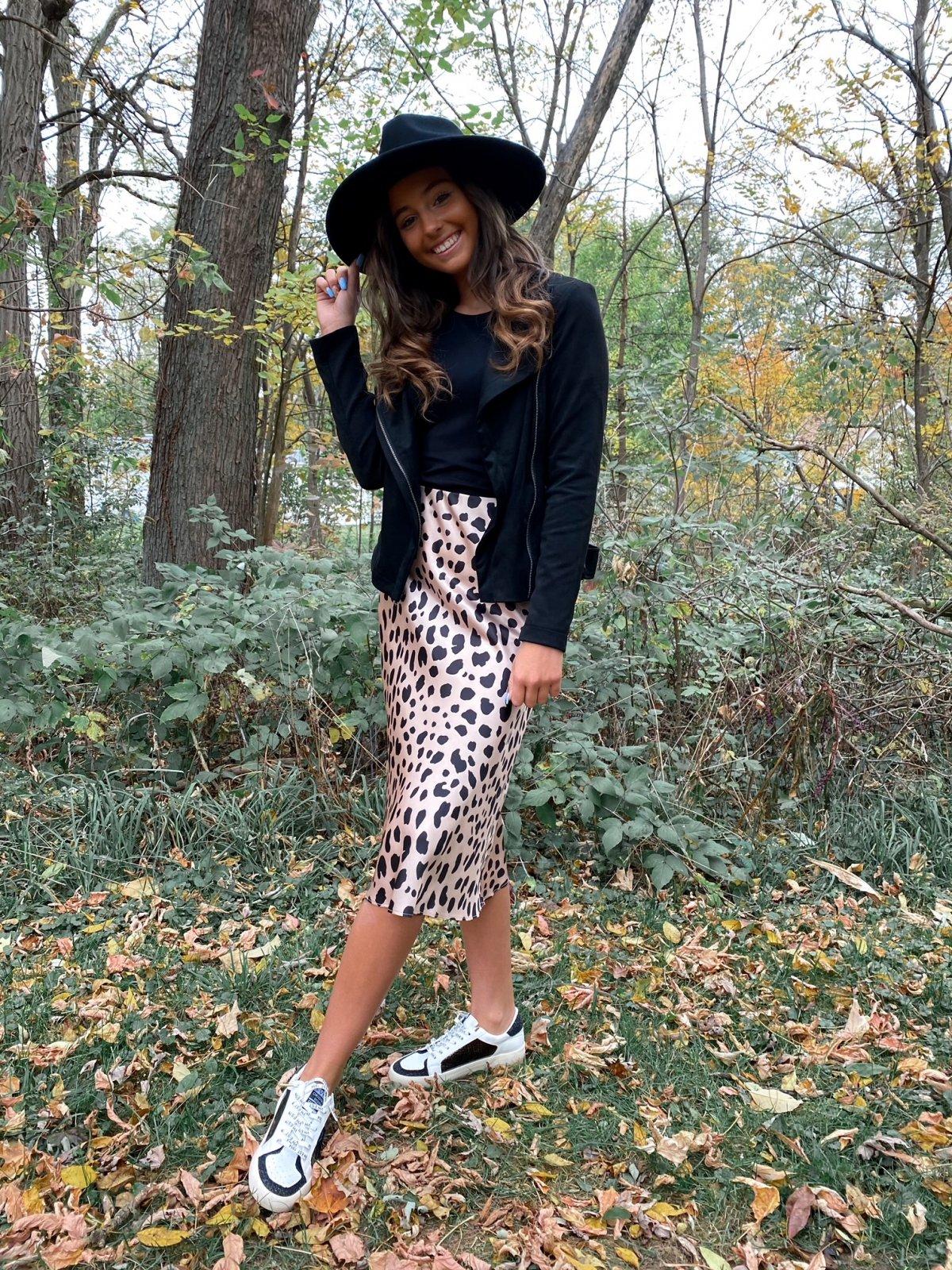 LALA Ivory/Black Animal Print Midi Silky Skirt