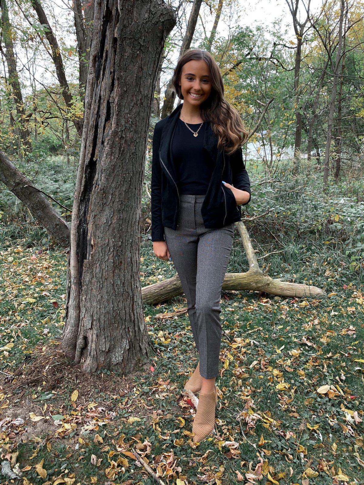 BT Black/Grey Plaid Crop Sporty Trouser Pant