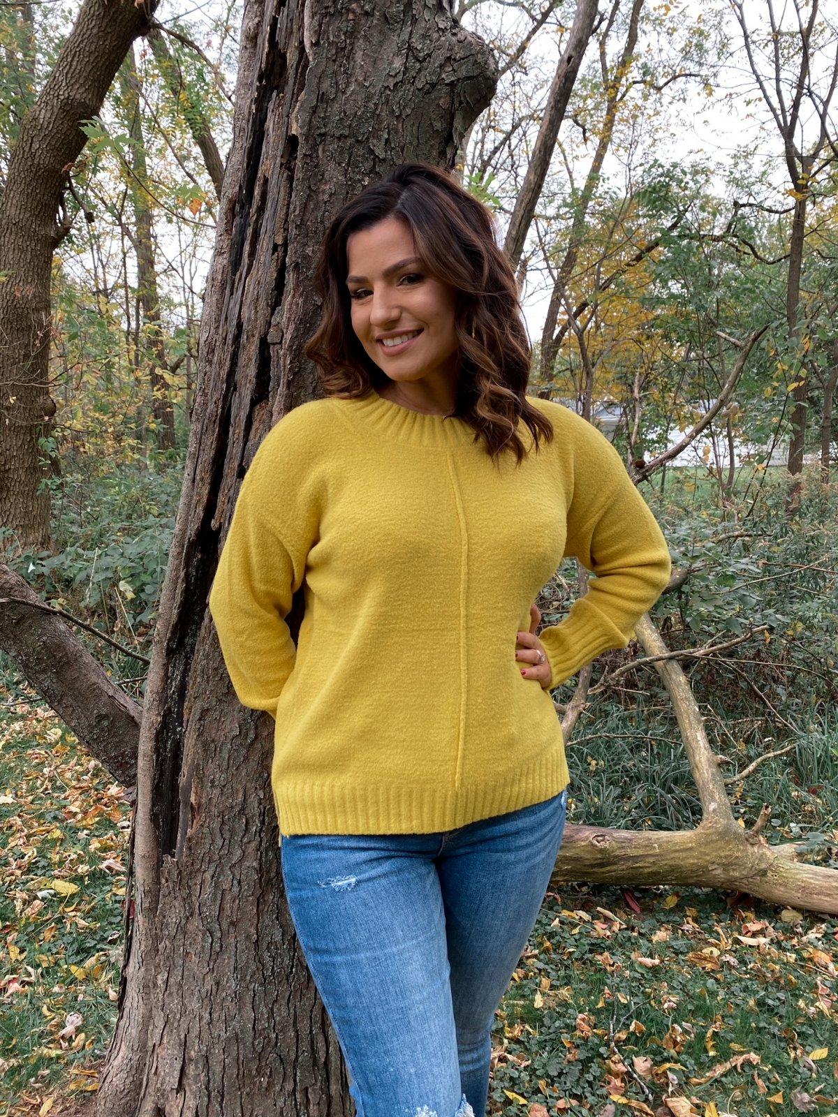 RAI Mustard Soft Knit HiLo Rib L/S Crew Sweater