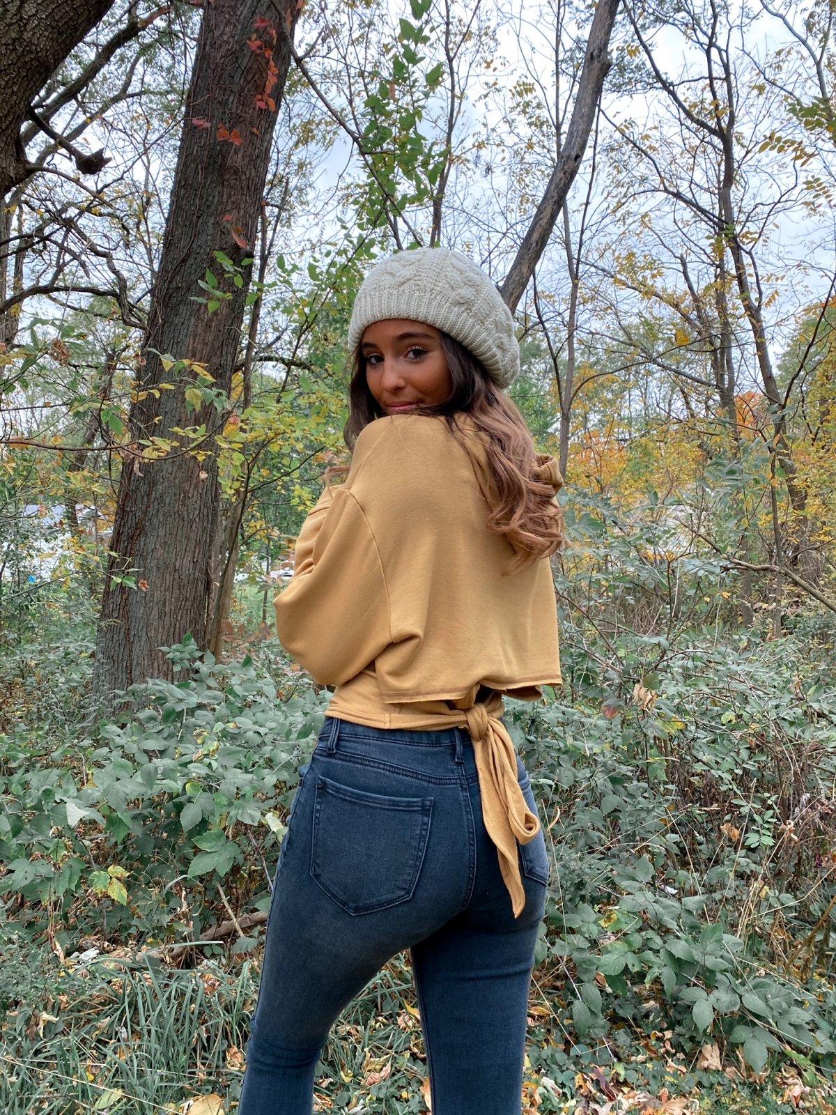 E Caramel Tie Back Crop Fleece Hoody