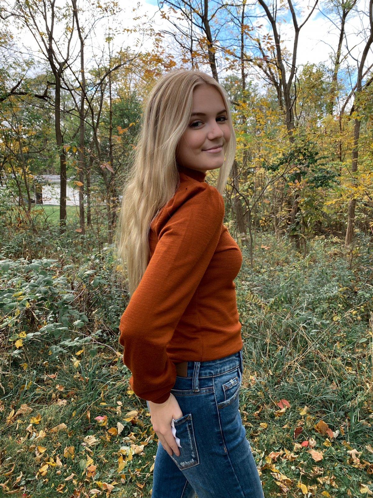 BT Burnt Orange Crop Mock Nk Princess Sleeve Sweater