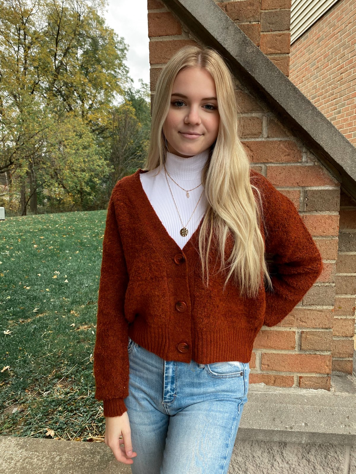 PM Rust Boucle L/S Btn Up V Crop Cardigan Sweater