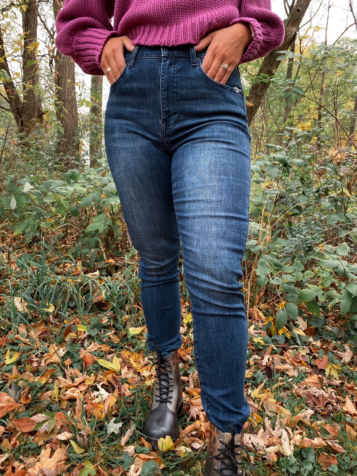 P Dark Blue High Rise Skinny ALINE Denim Lake Como Color