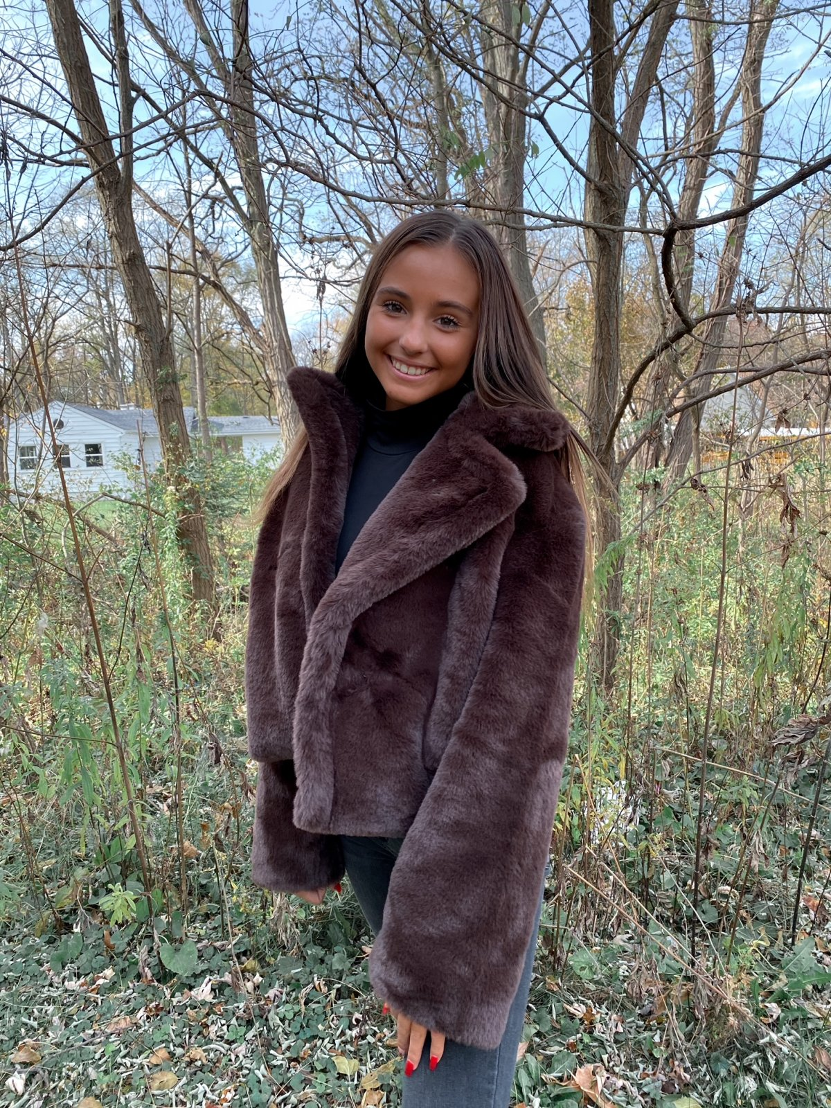 BBD Chocolate Faux Fur Open Crop Jacket