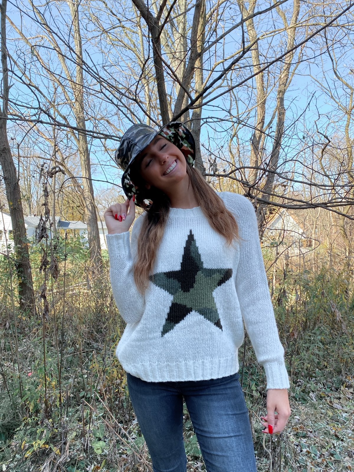 WS Ivory Green Camo STAR Crew L/S Sweater