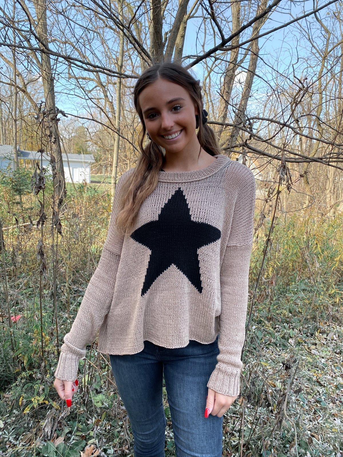 WS Tan Black STAR Dolman Crew Knit Sweater