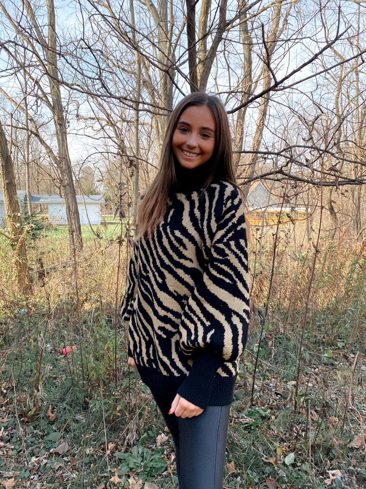 HF Black/Tan Tiger Balloon Slv HiLo Tunic Mock Nk Sweater