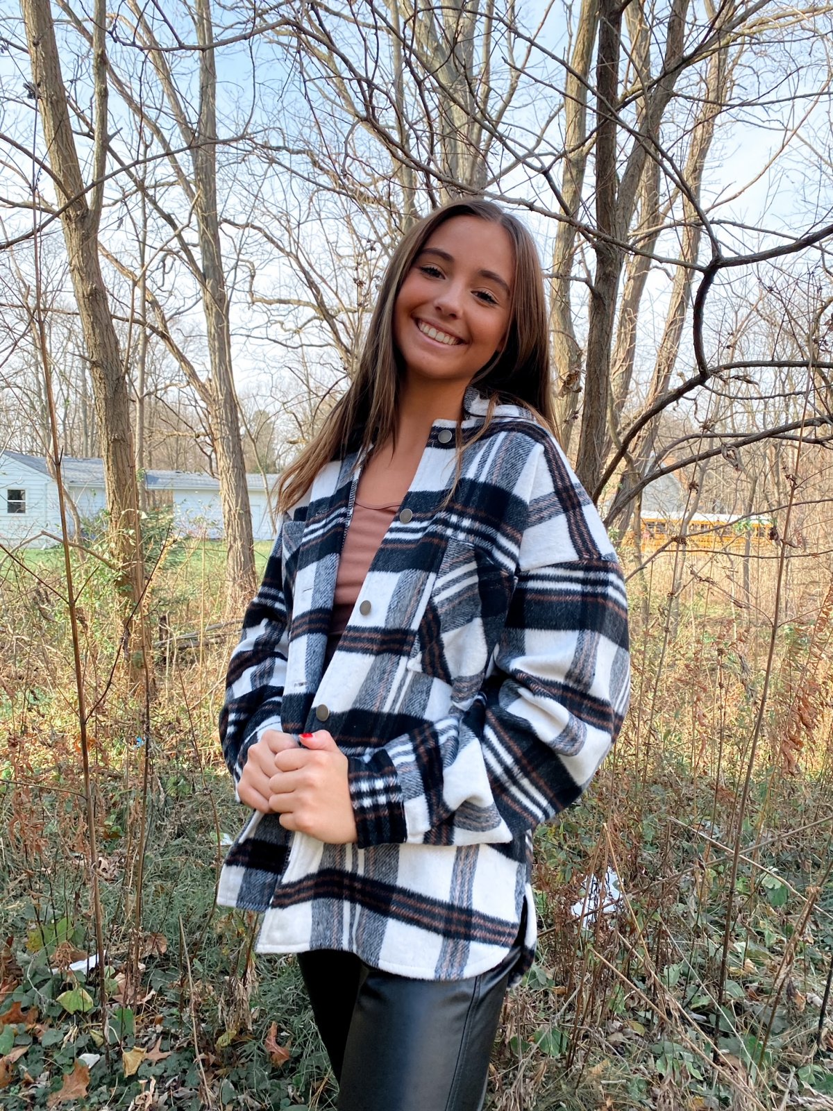 SS Ivory/Black/Rust Plaid BtnUp CPO Flannel Hooded Jacket