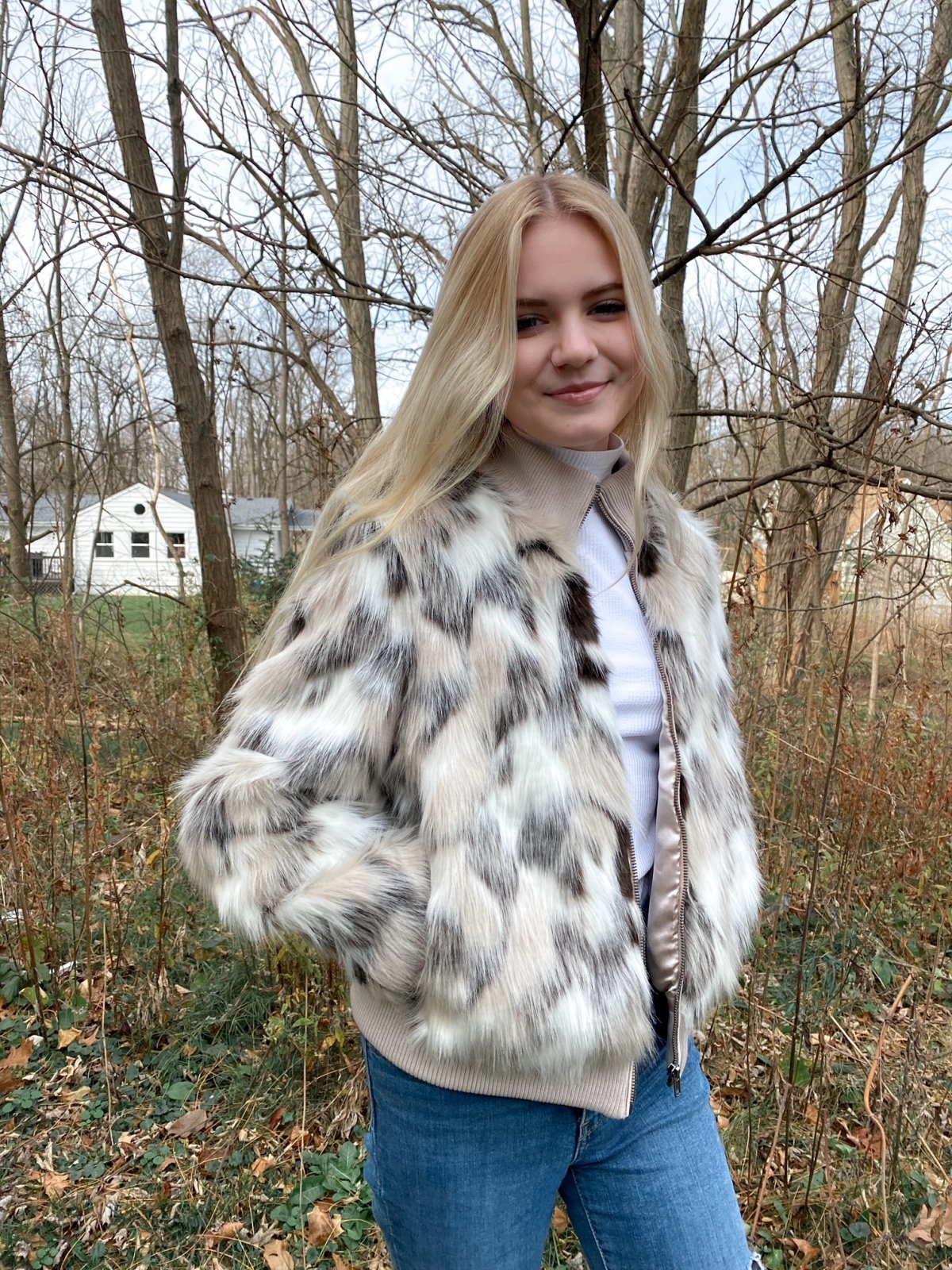 CUP Birch White Spotted Crop Faux Fur Zip Jacket