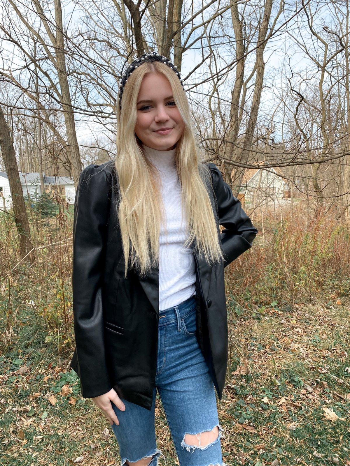 CUP Black Faux Leather Blazer Jacket