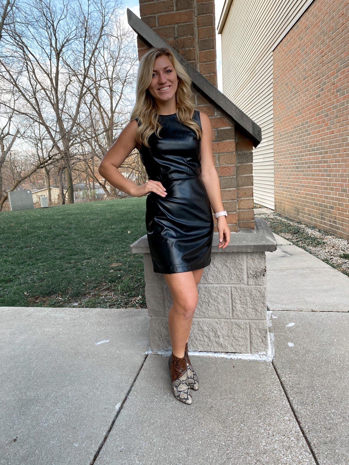 SS Black S/L Faux Leather Dress
