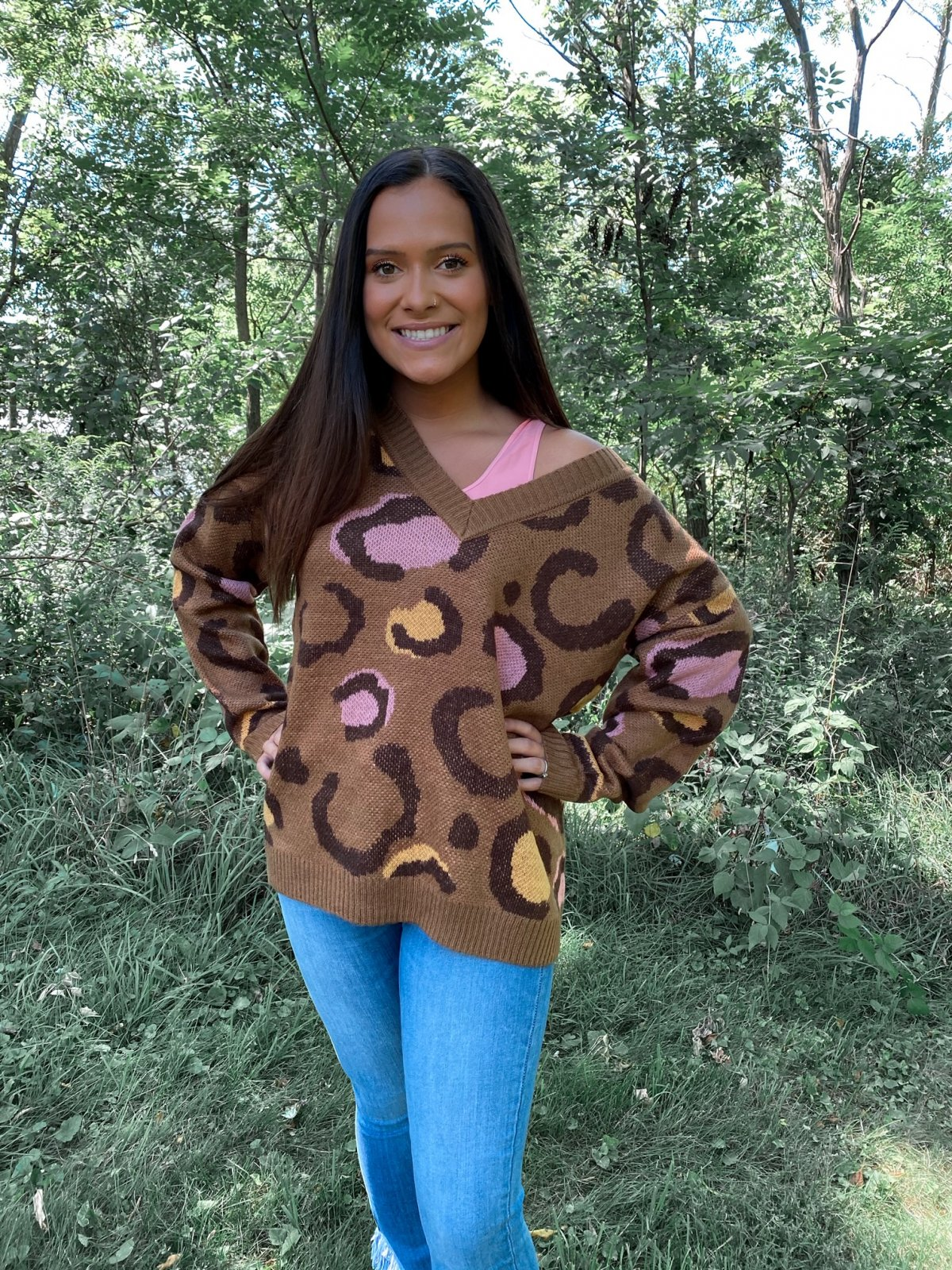 AND L/S Geo Leopard V Boxy Sweater