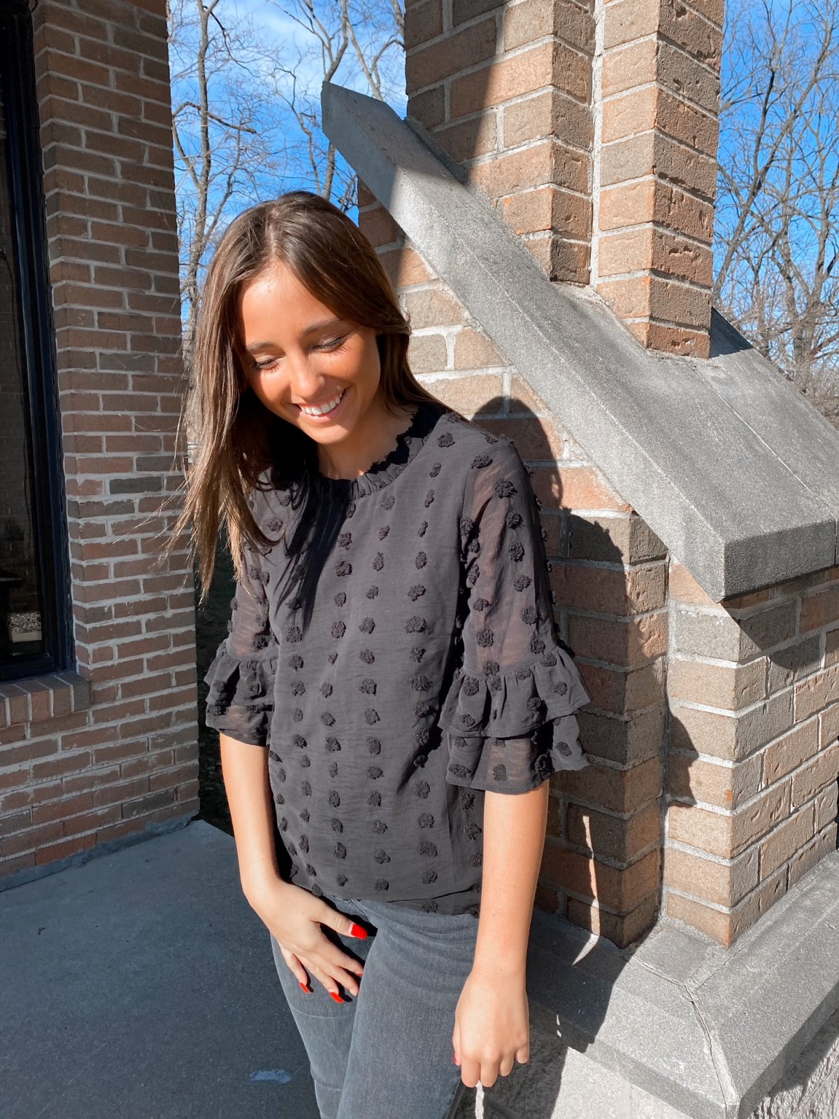 THML Black Puff Slv Dotted Top