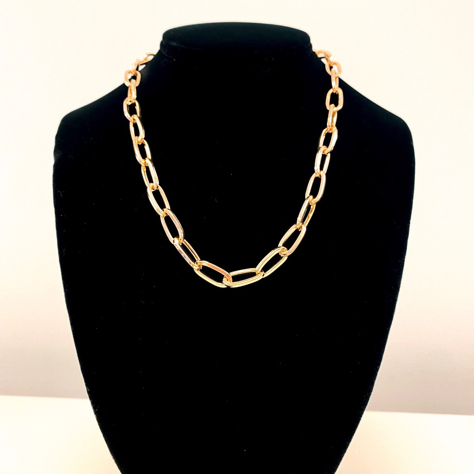 CRC Gold Thick Link Paperclip Necklace