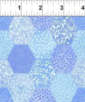 Ajisai by Jason Yenter - C5AJI-3 - Light Blue Tonal Hexagons