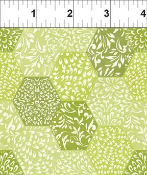 Ajisai by Jason Yenter - C5AJI-4 - Green Tonal Hexagons