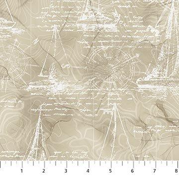 Sail Away - Northcott - Boat Sketches - Tan