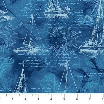 Sail Away - Northcott - Boat Sketches - Blue