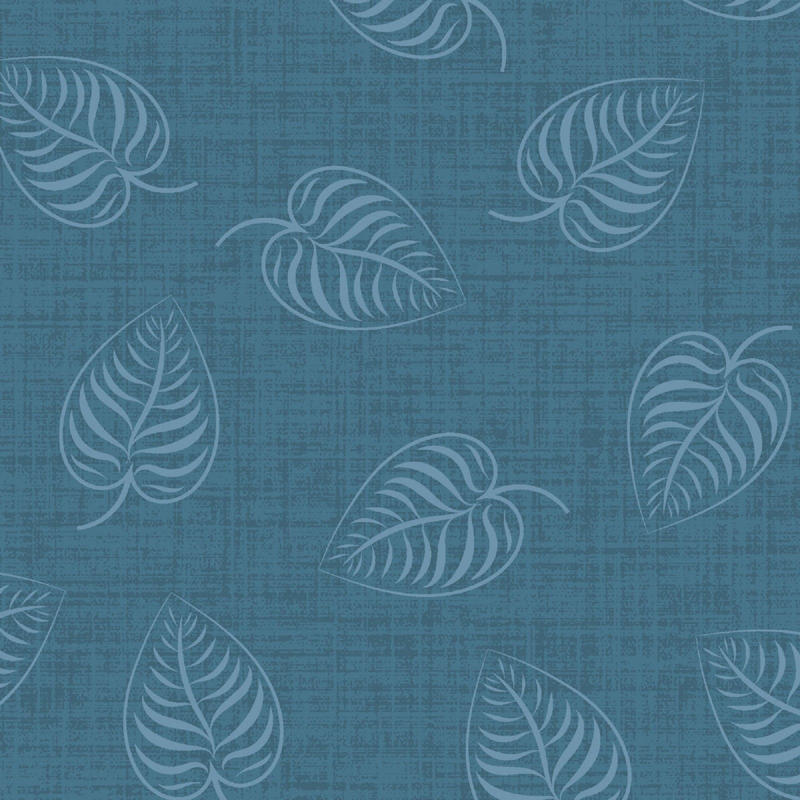 Flower & Vine - Leaf Print - Blue