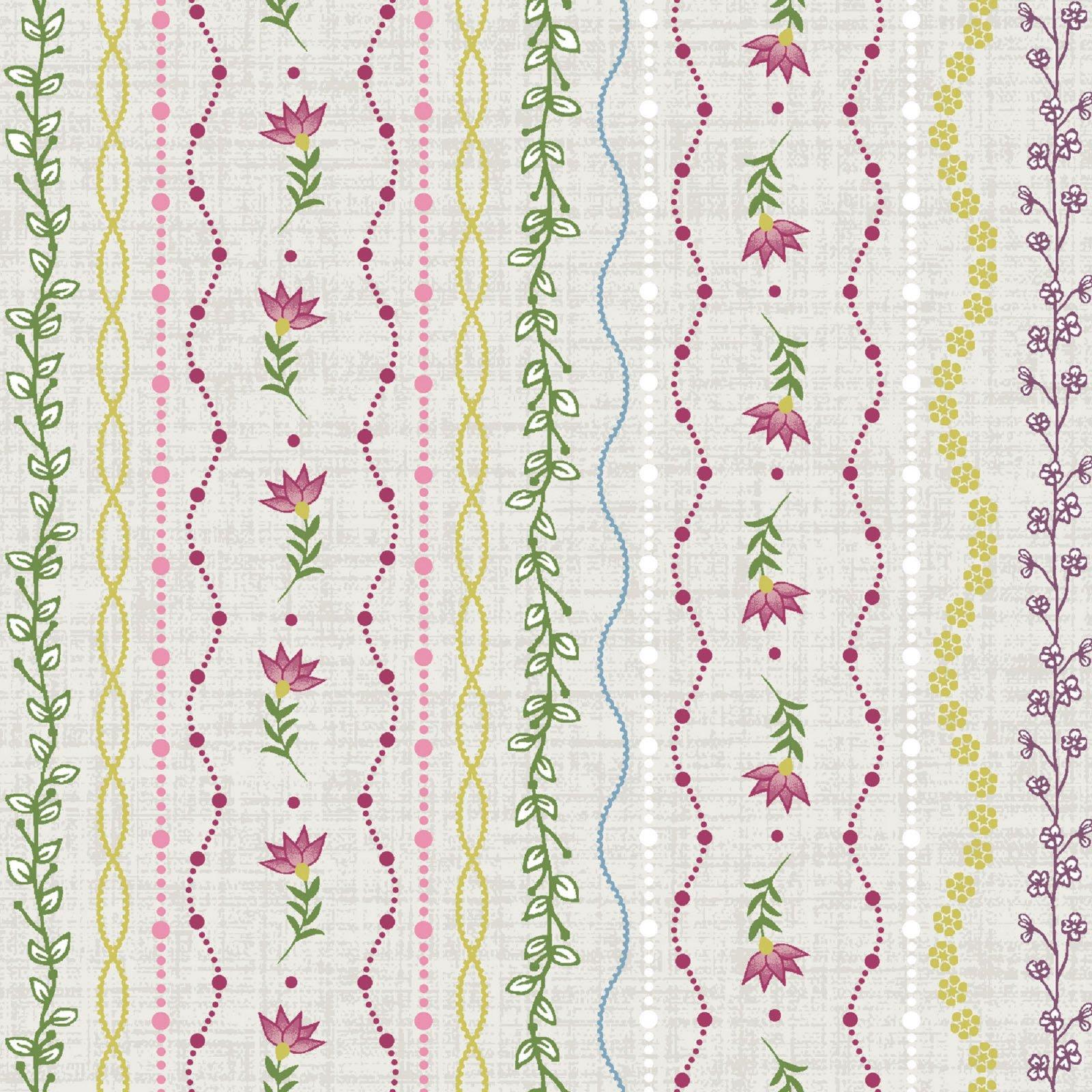Flower & Vine - Stripe - Ecru