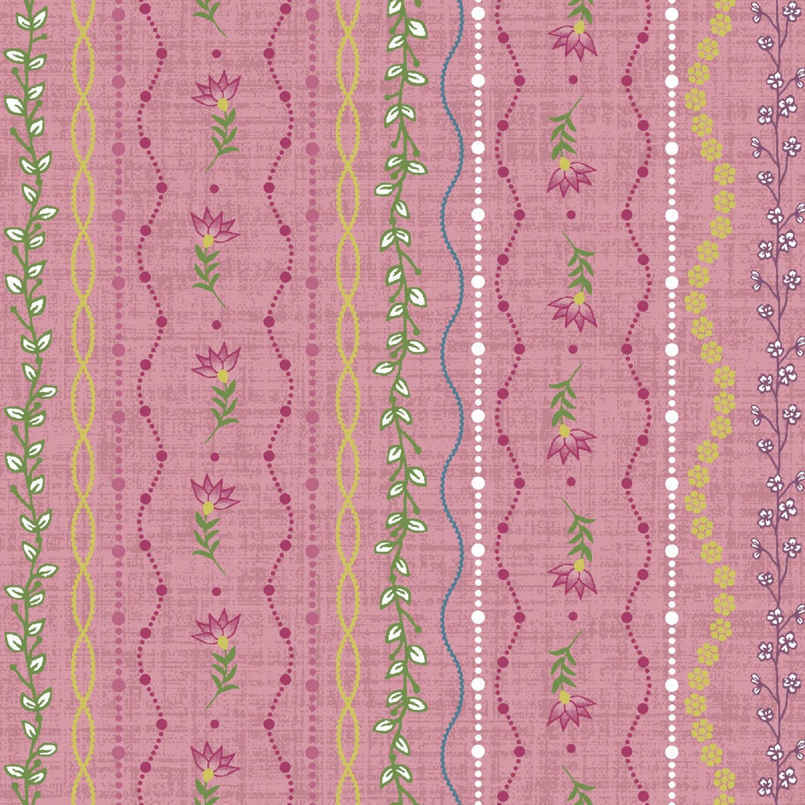 Flower & Vine - Stripe - Pink