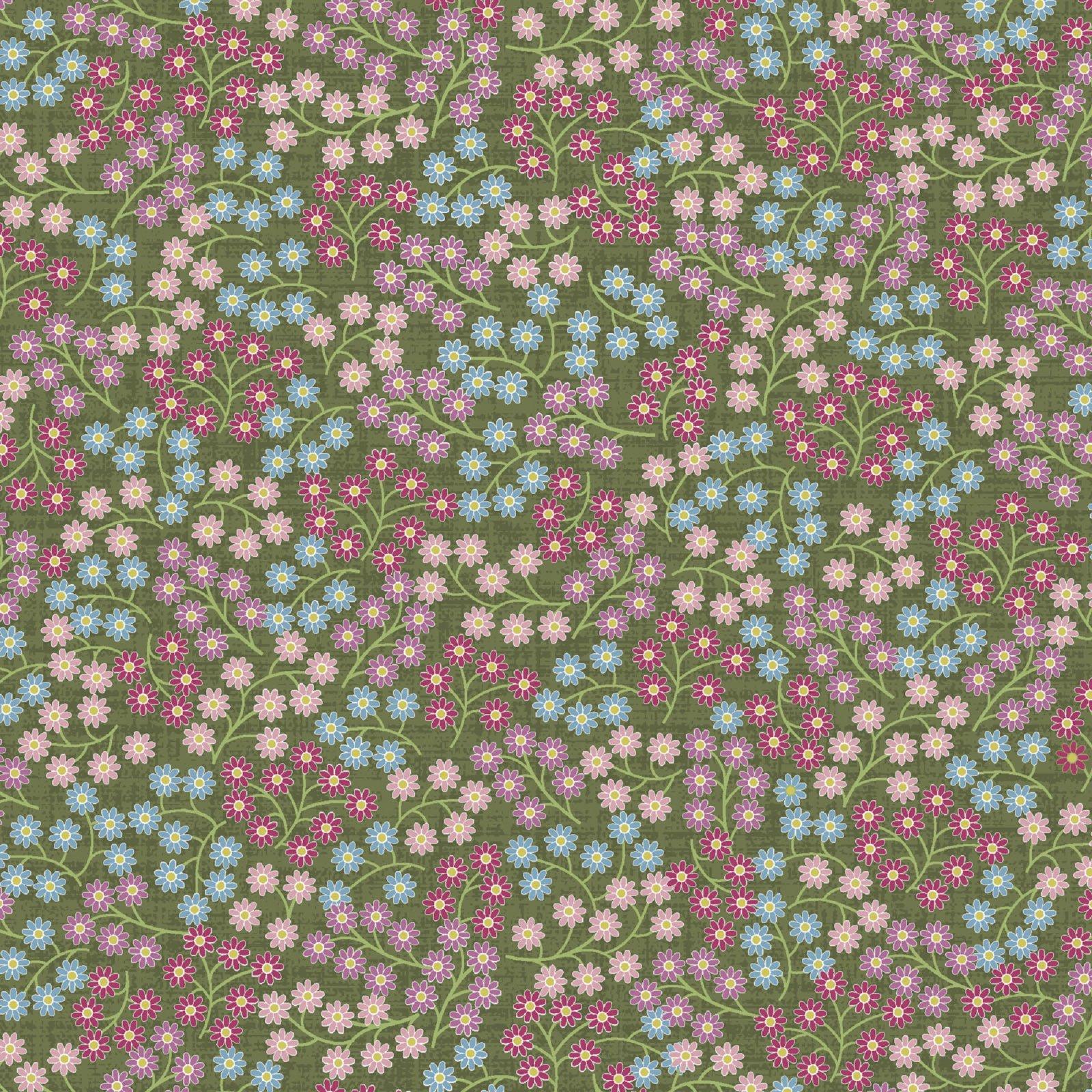 Flower & Vine - Scattered Flower - Green
