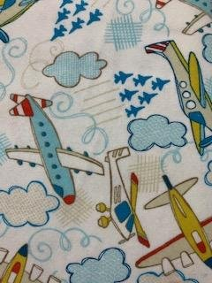 Airplanes on White flannelette